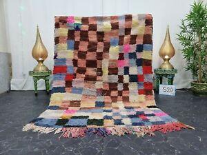 "Moroccan Handmade Vintage Rug 4'6""x6'2"" Berber Checkered Multicolor  Carpet"
