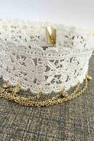 Women Fashion Jewelry Retro Vintage 90's Choker White Floral Necklace Chains