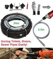 Huge 24M+2.5M Pro Drain Pipe Cleaner Drill Attachment Plumber Snake Toilet Jack