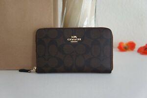 NWT Coach F88913 Signature Canvas&Leather Medium Zip Around Wallet Brown Black