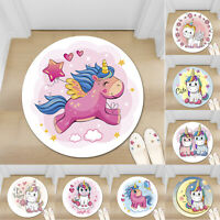 Cute Unicorn Kids Non-slip Round Soft Area Rug Floor Carpet Door Mat Home Decor