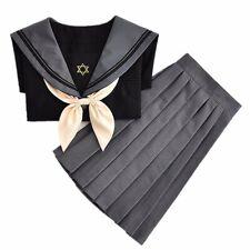Japanese School Sailor Uniform JK Girls Long Sleeve Blouse Pleated Skirt Suit