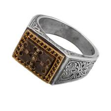 D279 ~ Sterling Silver, Bronze & Zircon Medieval Signet Ring