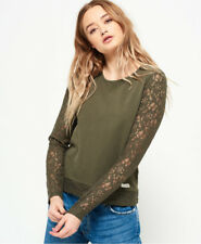 New Womens Superdry Willow Lace Top Frosted Khaki