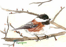 ACEO Limited Edition- On wings of fresh air, Gift for her, Chickadee