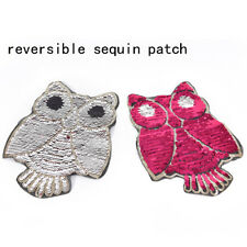 owl reversible change color sequins sew on patches for clothes coat diy craftP&C