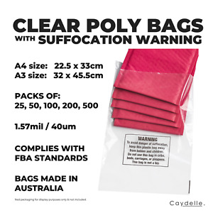 Transparent Poly Bags A4 & A3   Suffocation Warning & Clear Bags - FBA Compliant