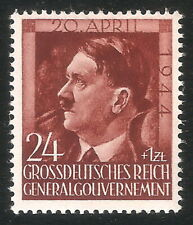 DR Nazi 3rd Reich Rare WW2 Stamp Hitler Head Swastika Eagle Birthday Poland War
