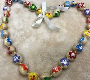 HAWAII KUKUI NUT LEI NECKLACE WEDDING GRADUATION LUAU HULA VARIOUS COLOR FLOWERS