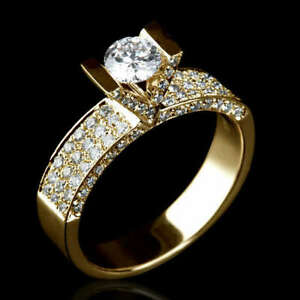 18K YELLOW GOLD 1.85 CARAT DIAMOND SOLITAIRE W/ SIDE ACCENTS WEDDING RING
