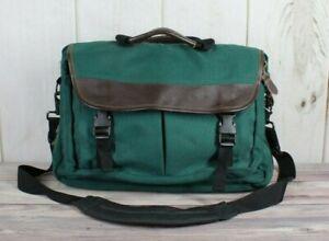 LL BEAN Men's Green Polyester Leather Trim Commuter Crossbody Messenger Bag