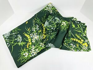 Vintage JC Penney Curtains VERA style Floral Green Yellow Drapes 2 Panels Sheer