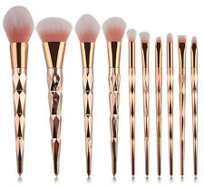 Makeup Professional Set Brush Brushes 10pcs Spiral Rose Gold Handle Cosmetic New