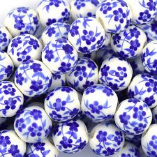 "12mm flower porcelain round beads 13.5"" strand blue S2"