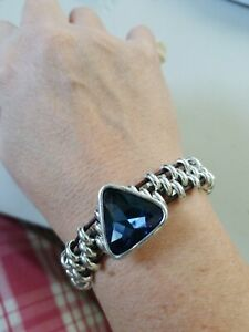 Triangle sapphire blue Crystal Silver Beaded Leather Bracelet Uno De 50...