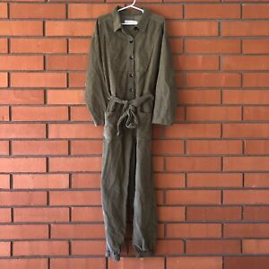 ZARA Girl's Olive Green Long Sleeve Corduroy Belted Jumpsuit Size 9
