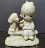 "Precious Moments ""Loving is Sharing"" E-3110/G girl dog ENESCO 1979"