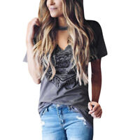 NEW Womens Casual Short Sleeve Choker V Neck Blouse Stylish Print TopsT-shirts