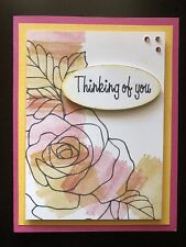 "Card Kit Set Of 4 Stampin Up Rose Wonder Hello Honey ""Thinking Of You"""