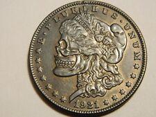 1921 Morgan Dollar Two Face Skull Skeleton Novelty Coin  --- Lot #620