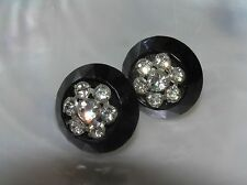 Vintage Black Plastic Faceted Button with Clear Rhinestone Flower Overlay Screw