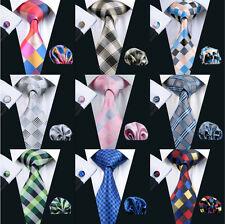 Top Selling Silk Plaids&Checks Men's Necktie Set Formal Casual Red Green Pink