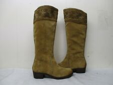 Nurture Light Brown Suede Leather Knee High Zip Riding Boots Womens Size 9 M