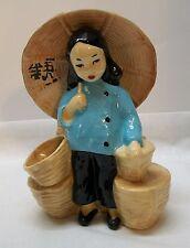 Girl Planter Holding Umbrella Asian California Pottery Vintage