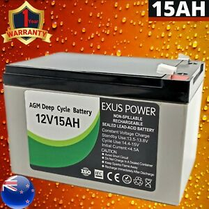 12V 15Ah AGM Deep Cycle Battery SLA Sealed Alarm Bike Camping Marine Solar Power