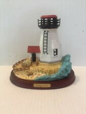 Vintage~PartyLite~Plymout h Light~Lighthouse~Mass 1767~Candle~Wood Stand~2003~Wow