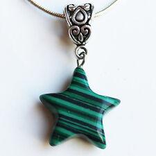Semi-Precious Stone Star Shaped Pendant on Silver Chain - Green Malachite
