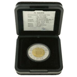 Netherlands Antilles - Gold/Silver 75 Gulden Coin - 'Settlement' - 1999 - Proof