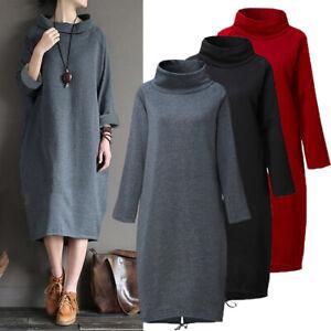 ZANZEA Femme Automne et Hiver Robe Dresse Col Haut Manche Longue Droit Robe Jupe