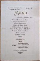 Menu French 1913 Grand Hotel d'Angleterre, Cauterets w/Wine List