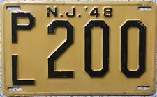 GENUINE American 1948 New Jersey USA License Licence Number Plate Tag PL 200