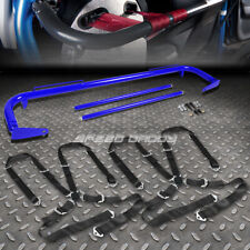 """BLUE 49""""STAINLESS STEEL CHASSIS HARNESS BAR+BLACK 4-PT STRAP CAMLOCK SEAT BELT"""