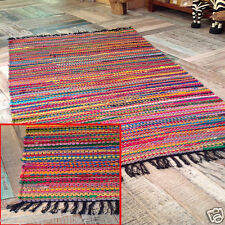 MULTICOLOR CHINDI AREA FAIR TRADE RAG RUG LOOMED COTTON RECYCLE MAT 60X90CM