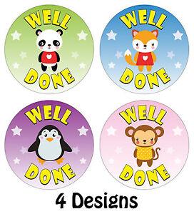 144 x Well Done Reward Stickers 'Animal Theme' School Teachers Parents Kids