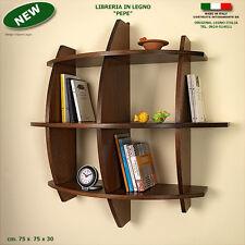 Libreria PEPE in legno noce mensola scaffale a muro parete per ufficio studio