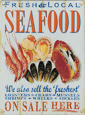 New 30x40cm Fresh Local Sea Food retro large metal advertising wall sign