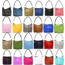Ladies Italian Genuine Suede Leather Shoulder Tote Weekend Bag