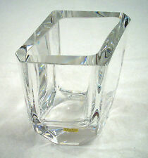 "KOSTA BODA CRYSTAL FOUR SIDED VASE ""HANDMADE"" NUMBERED AND SIGNED SIG. P."