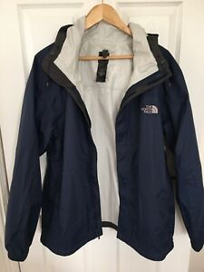 Mens North Face Smart Hooded Waterproof Jacket Navy Blue Size L.