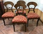 Antique Pre-War Dining Chairs Upholstered Seats 4