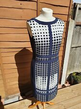 Esprit Shift Navy Blue & Cream Business Work Dress - Size UK 12 - RRP £69