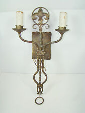 Vintage Twisted Metal Fleur De Lis 2 Candle Light Fixture Wall Sconce Wired Gold