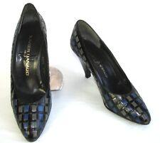 XAVIER DANAUD Escarpins vintage talons cuir noir bleu gris 6.5 = 36.5 EXCEL ETAT