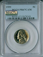1959 JEFFERSON NICKEL PCGS MAC PR67 CAMEO SPOTLESS .