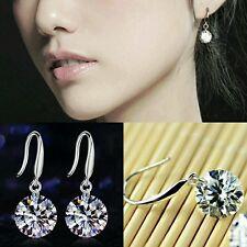 #1106 Women Silver Plated Ear Hook Crystal Dangle Earing 8mm Rhinestone Earrings