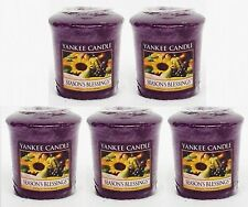 5 Yankee Candle SEASON'S BLESSINGS Wax Votive Mini Candle approx 15 hrs ea